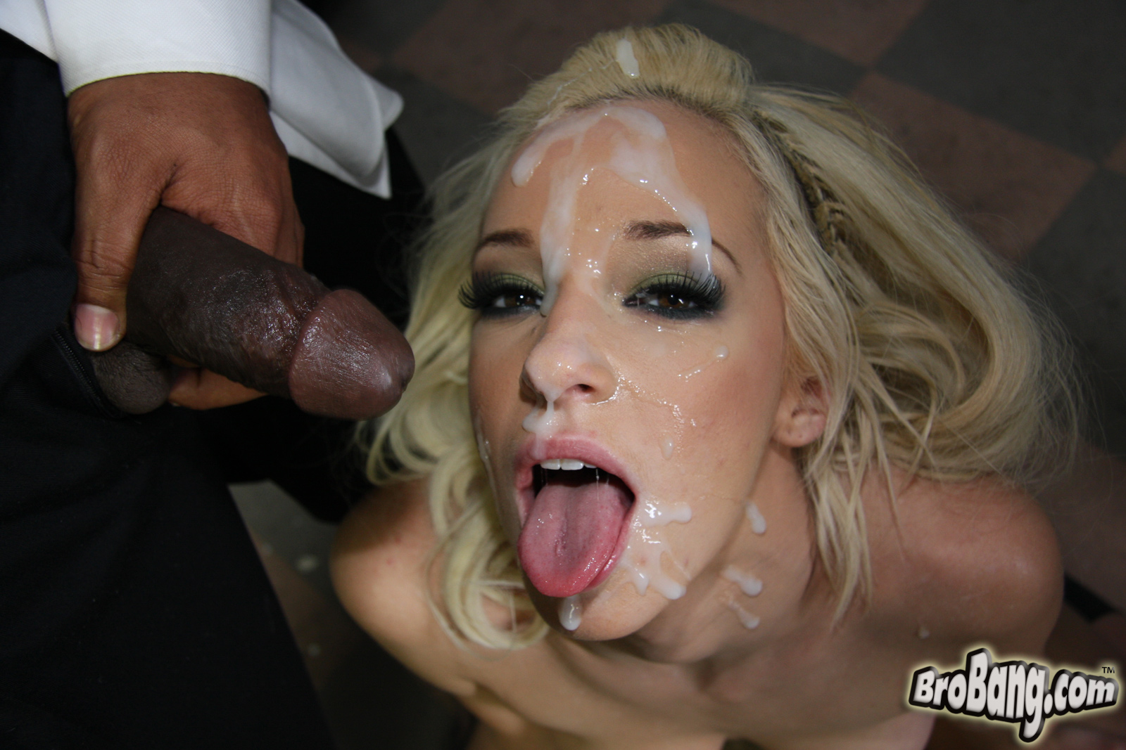 Gangbanged ebony slut covered in cum and spit 1