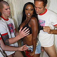 Big boobed Diamond Jackson gets bukkaked by several white cocks from CumBang