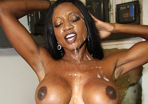 huge titted ebony goddess gets bukkaked by several white men from CumBang