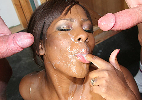 ebony hottie gets blowbanged and bukkaked by ten rednecks from CumBang