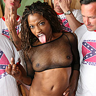 enraged black chick gets bukkaked by a dozen white men from CumBang