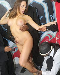 Smokin hot Chanel Preston swallows black cocks in spades